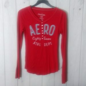 Aeropostale red thermal long sleeve top large